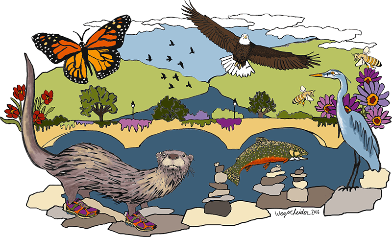 Otter wearing sneakers, and other animals, alongside the Bridge of Flowers and Deerfield River