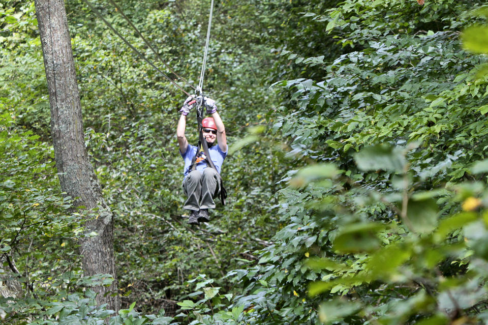 Zip lining at Berkshire East in Charlemont, MA